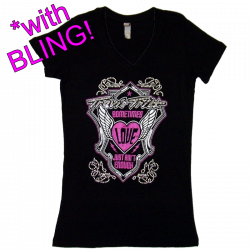 Travis Tritt Ladies Black V Neck Rhinestone Fashion Tee