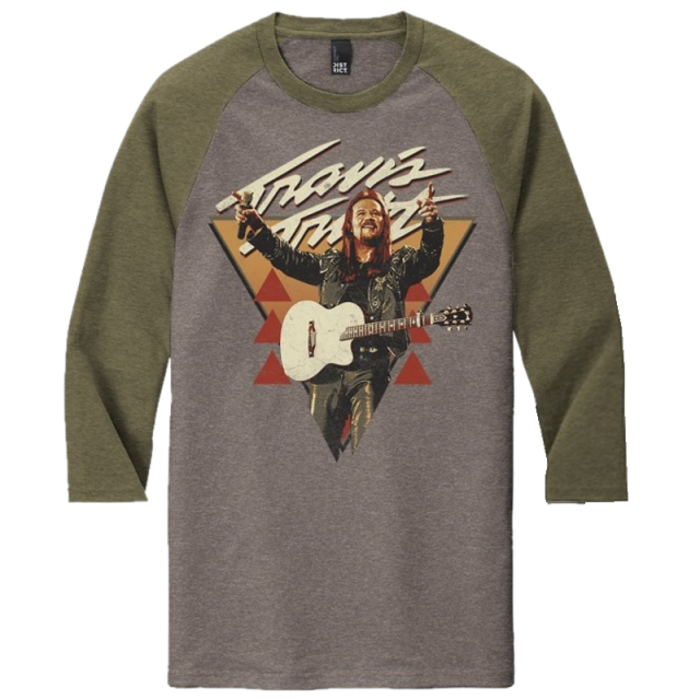 Travis Tritt Military Green and Grey Frost Raglan Tee
