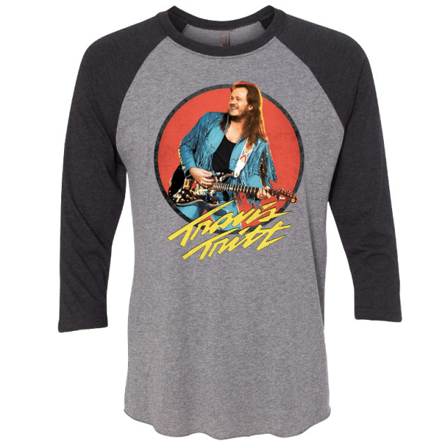 Travis Tritt Grey and Vintage Black Raglan Tee